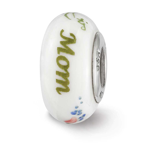 Sterling Silver Reflections White Hand Painted Mom Floral Glass Bead