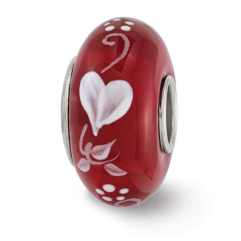 Sterling Silver Reflections Red Hand Painted Hearts Desire Glass Bead