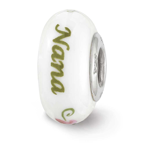Sterling Silver Reflections White Hand Painted Nana Floral Glass Bead