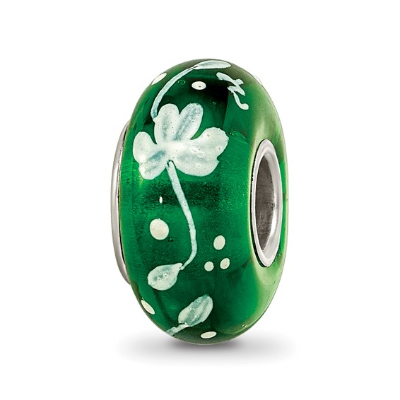 Sterling Silver Reflections Hand Painted Clover Floral Glass Bead