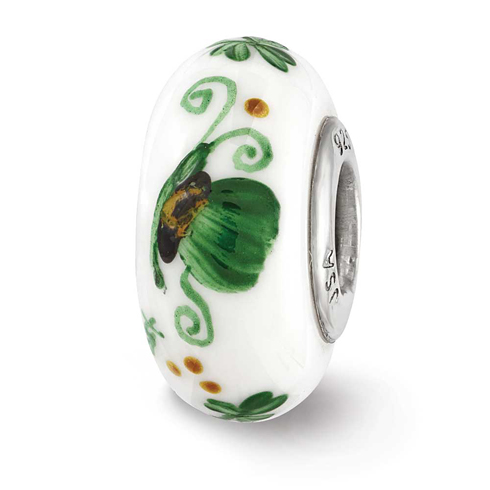 Sterling Silver Reflections Green Hand Painted Irish Glass Bead