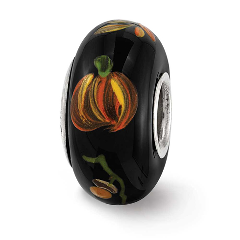 Sterling Silver Reflections Black Hand Painted Hallows Eve Glass Bead