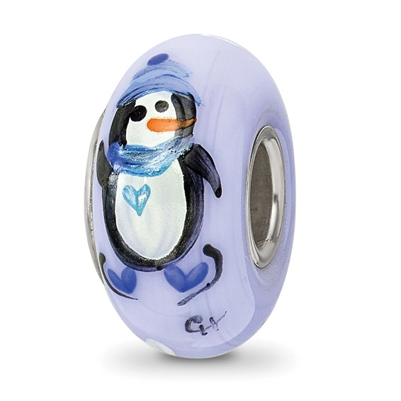Sterling Silver Reflections Blue Hand Painted Penguins Glass Bead