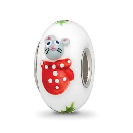 Sterling Silver Reflections Hand Painted Christmas Mouse Glass Bead