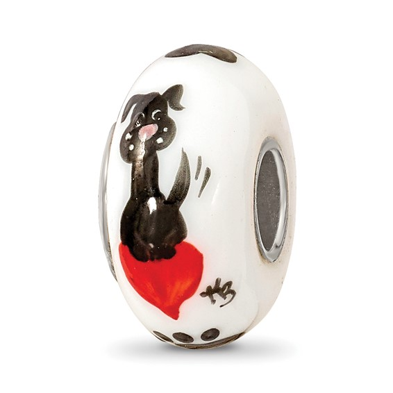 Sterling Silver Reflections Hand Painted Muttley Dog Glass Bead