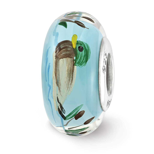 Sterling Silver Reflections Blue Hand Painted Duck Glass Bead