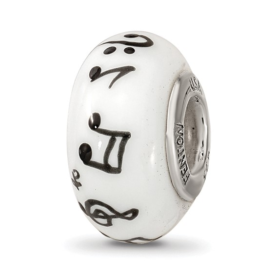 Sterling Silver Reflections White Hand Painted Music Notes Glass Bead