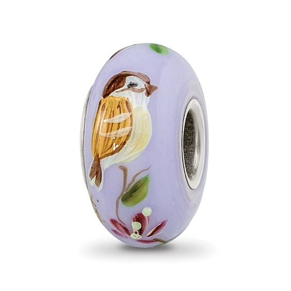 Sterling Silver Reflections Hand Painted Sparrow Glass Bead