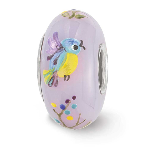 Sterling Silver Reflections Hand Painted TJ Bird Floral Glass Bead