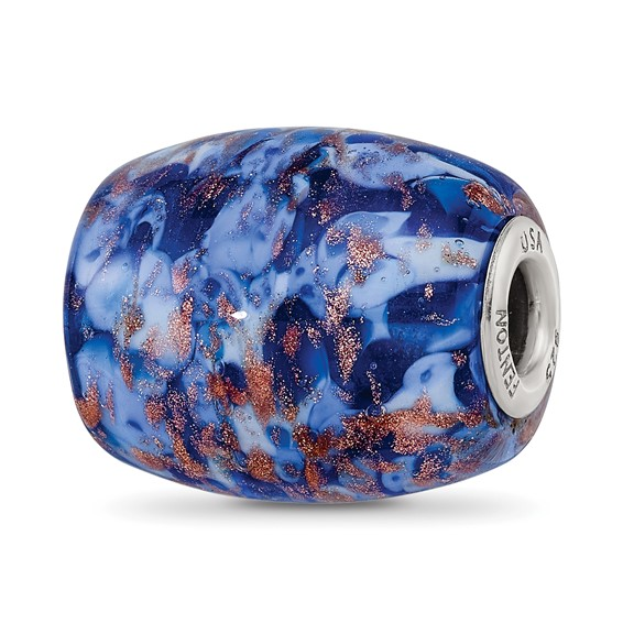 Sterling Silver Reflections Blue with Glitter Danube Glass Bead