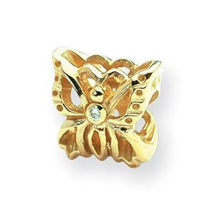 14k Reflections .015ct. Diamond Butterfly Bead