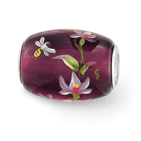 Sterling Silver Reflections Purple Hand Painted Magnolias Glass Bead