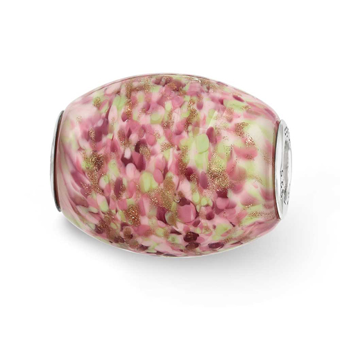 Sterling Silver Reflections Multi-color Glitter Sweet Pea Glass Bead