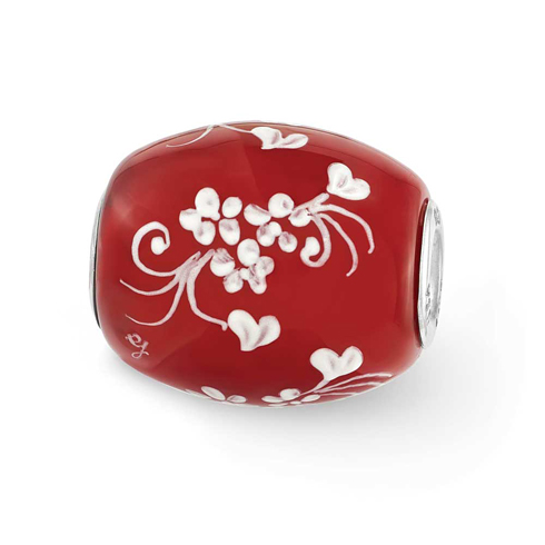 Sterling Silver Reflections Red Hand Painted Floral Hearts Glass Bead