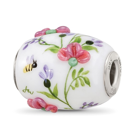 Sterling Silver Reflections White Hand Painted Floral Glass Bead