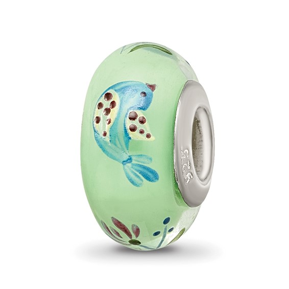 Sterling Silver Reflections Green Hand Painted Calico Bird Glass Bead