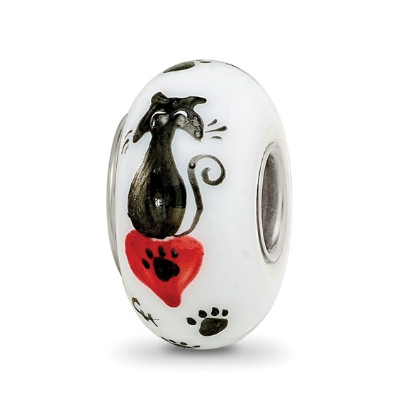 Sterling Silver Reflections White Hand Painted Cat Paws Glass Bead