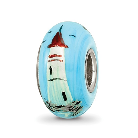 Sterling Silver Reflections Blue Hand Painted Sailboats Glass Bead