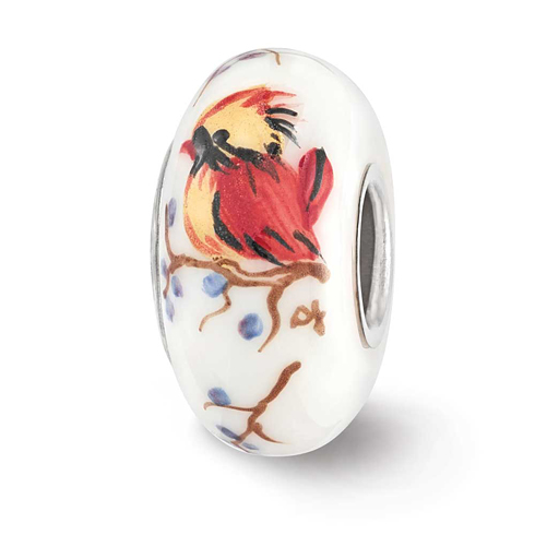 Sterling Silver Reflections White Hand Painted Lady Cardinal Bead