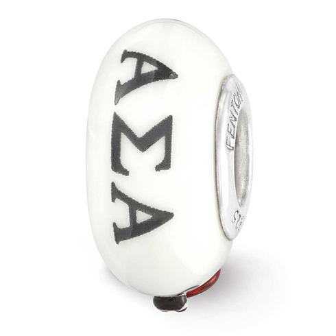 Sterling Silver Reflections Hand Painted Alpha Sigma Alpha Glass Bead