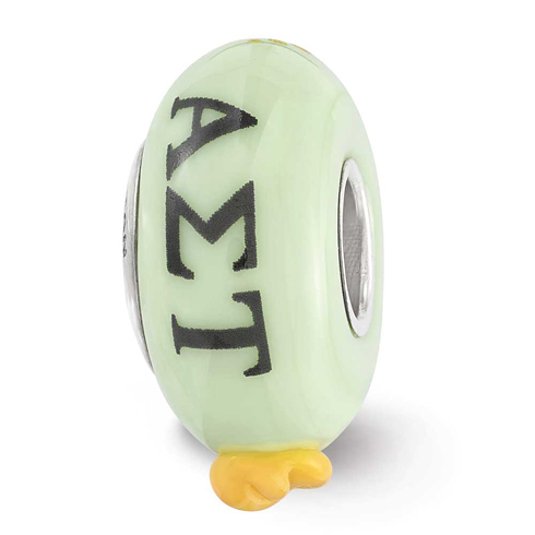 Sterling Silver Reflections Hand Painted Alpha Sigma Tau Glass Bead