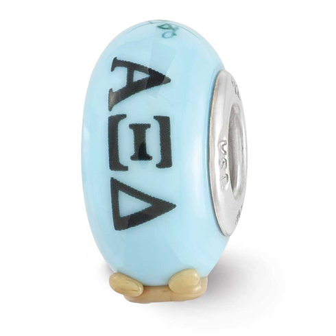 Sterling Silver Reflections Blue Hand Painted Alpha Xi Delta Bead