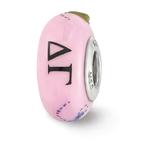 Sterling Silver Reflections Pink Hand Painted Delta Gamma Glass Bead