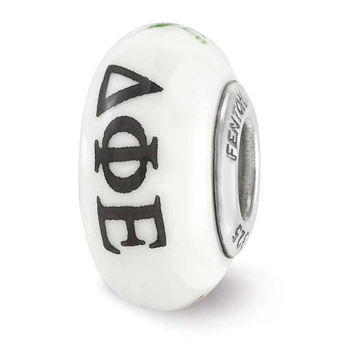 Sterling Silver Reflections Hand Painted Delta Phi Epsilon Glass Bead