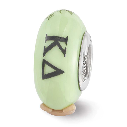 Sterling Silver Reflections Green Hand Painted Kappa Delta Glass Bead