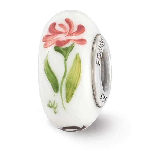 Sterling Silver Reflections White Hand Painted Phi Mu Glass Bead