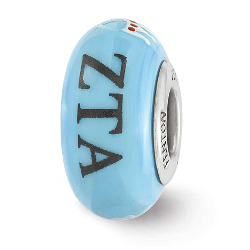 Sterling Silver Reflections Blue Hand Painted Zeta Tau Alpha Bead