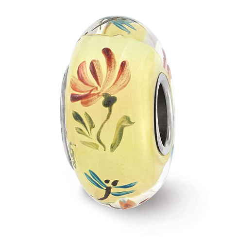 Sterling Silver Reflections Ivory Hand Painted Floral Fly Glass Bead
