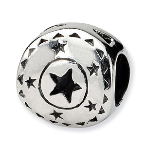 Sterling Silver Reflections Circle with Stars Bead