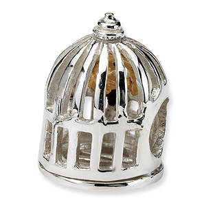 Sterling Silver & 14kt Gold Reflections Bird Cage Bead