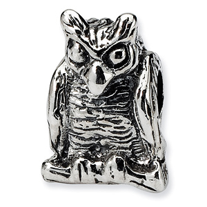 Sterling Silver Reflections Owl Bead