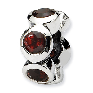 Sterling Silver Reflections Six Red CZ Bezel Bead