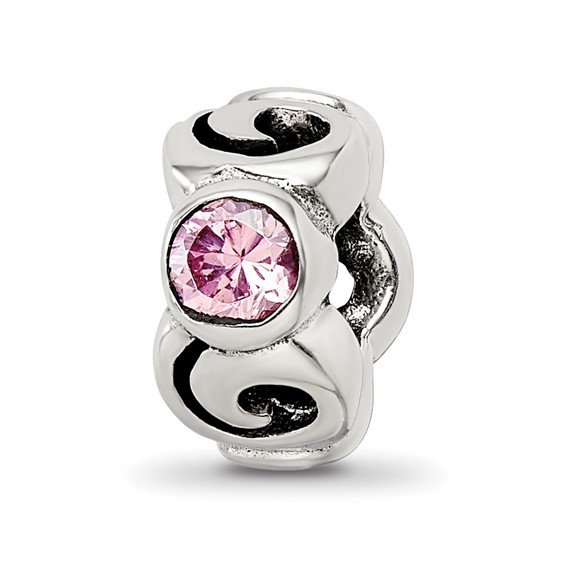 Sterling Silver Reflections Pink CZ Spiral Bead