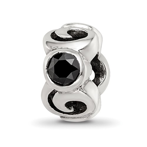 Sterling Silver Spiral Bead with Black CZ