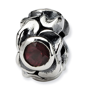 Sterling Silver Reflections Red and Orange CZ Bead