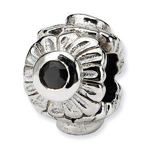 Sterling Silver Reflections Black CZ Flower Bead