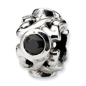 Sterling Silver Reflections Black CZ Fancy Bead