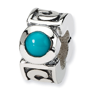 Sterling Silver Slender Turquoise CZ Bead