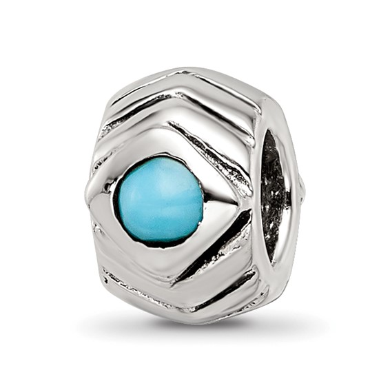 Sterling Silver Pointed and Grooved Turquoise CZ Bead