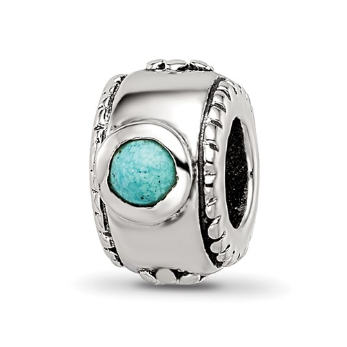 Sterling Silver Reflections Turquoise CZ Bead