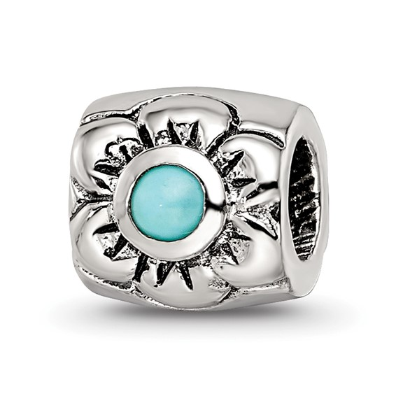 Sterling Silver Reflections Turquoise CZ Flower Bead