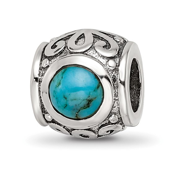 Sterling Silver Reflections Round Turquoise Bead