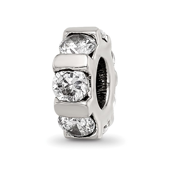 Sterling Silver Reflections Slender CZ Station Bead