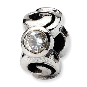 Sterling Silver Reflections CZ Spiral Bead