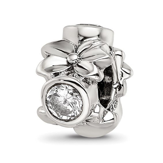 Sterling Silver Reflections CZ Accent Bead