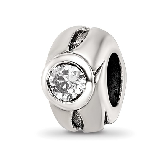 Sterling Silver Round Grooved CZ Bead